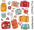 Vector Collection of vintage suitcases. Travel Illustration isolated. - stock vector