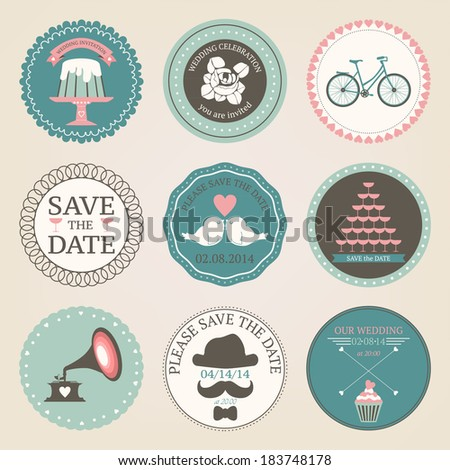 Vector collection of vintage wedding  decorative stickers.  Retro set of wedding circles - stock vector