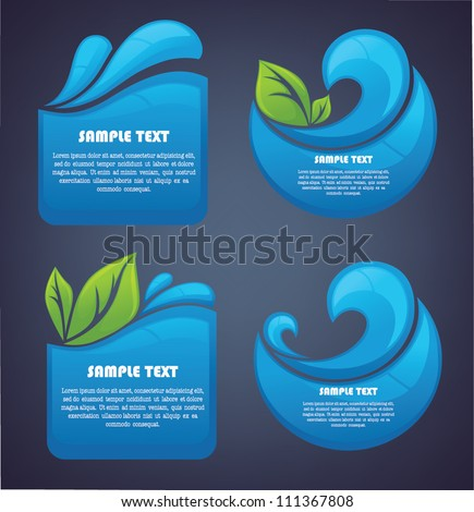 vector collection of water stickers and symbols on dark background - stock vector