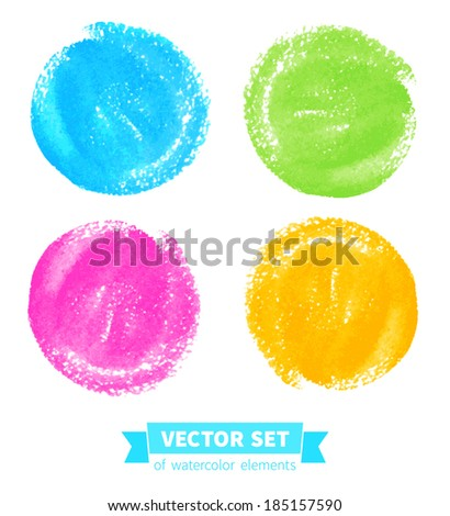 Vector collection of watercolor elements. Hand-drawn texture set