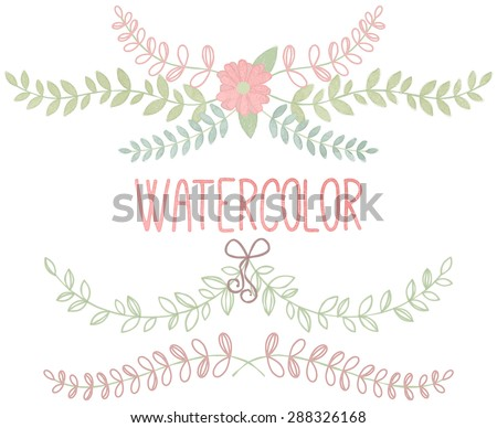 Vector Collection of Watercolor Style Laurels and Botanicals - stock vector
