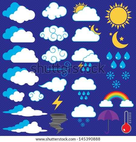 Vector Collection of Weather Icons and Symbols - stock vector