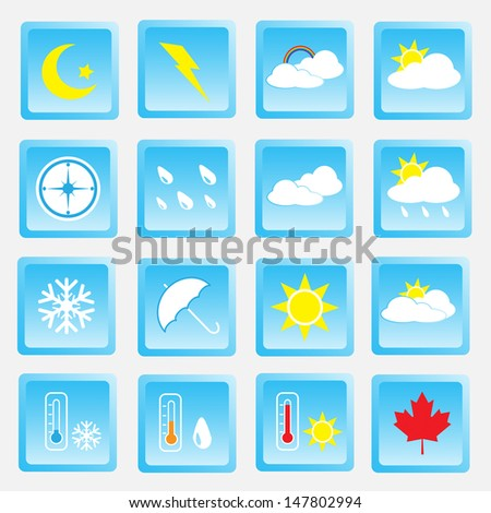 Vector collection of weather icons for web and mobile projects - stock vector