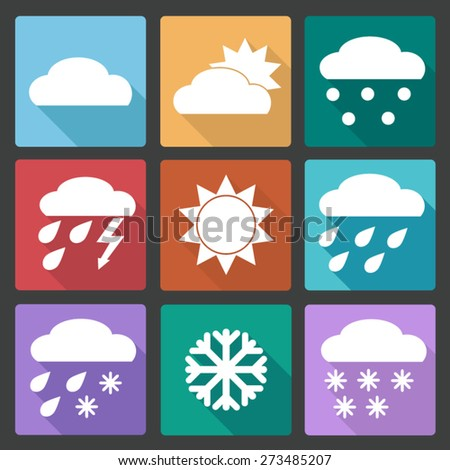 Vector Collection of Weather Icons in colored flat design style