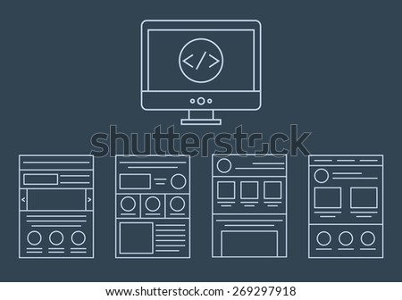 vector collection of web development icons - html css tags and page layout  isolated on white background isolated on dark background - stock vector