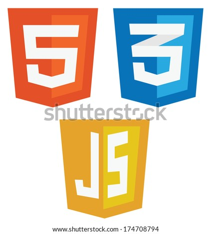 vector collection of web development shield signs: html5, css3 and javascript. isolated icons on white background - stock vector