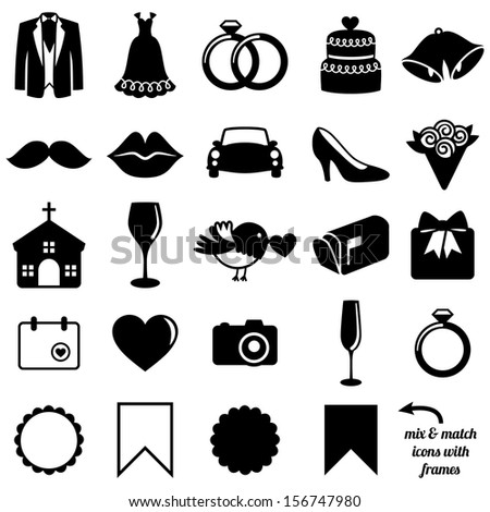 Vector Collection of Wedding Icons and Silhouettes with Frames - stock vector