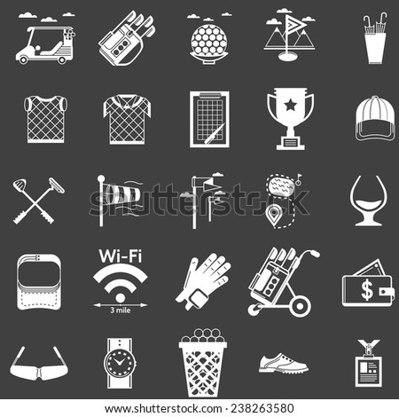 Vector collection of white icons for golf. White silhouette icons vector set for golf on black background. - stock vector