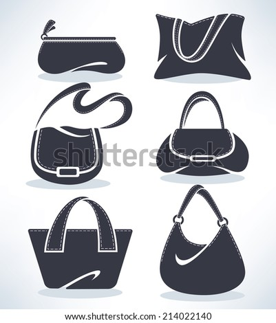 vector collection of woman's accessories, bags and purses - stock vector