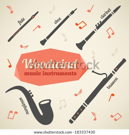 Vector collection of woodwind music instruments - stock vector