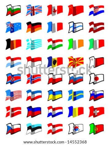 vector collection of world flags - stock vector