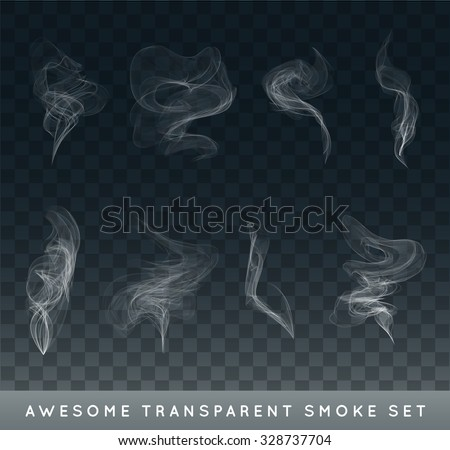Vector Collection or Set of Realistic Cigarette Smoke or Fog or Haze with Transparency Isolated can be used with any Background - stock vector