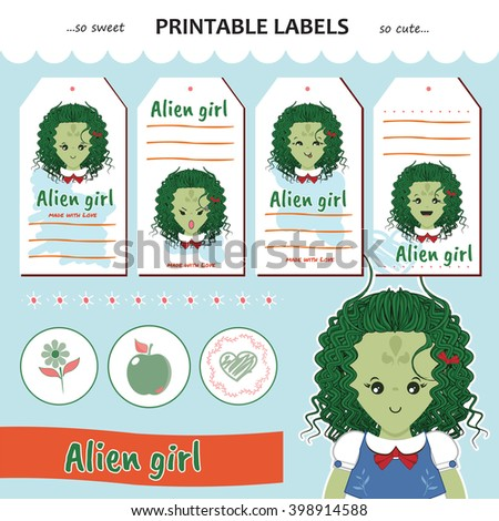 Vector collection printable gift tag, label, sticker. Kawaii monster alien girl with flower, heart. Flat element for festive, cute, sweet design. Blue, orange, white, green colors - stock vector