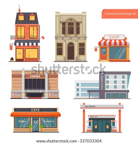 Vector collection Public,Town Buildings.Bank, Hotel/Hostel, Shop, Cinema, Hospital, Restaurant/Cafe, Gas Station.Flat style - stock vector