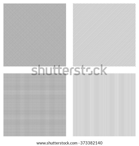 Vector collection, seamless hatch texture, black straight lines on white background - stock vector