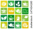 vector collection: tea icons - stock vector