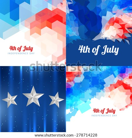 vector collection 4th of july american independence day background with pattern design - stock vector