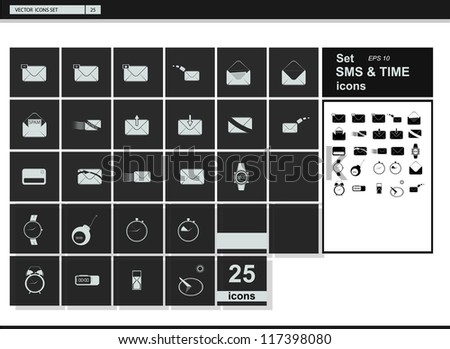 Vector collection web icon. Set pictogram. SMS. Time and clock. - stock vector