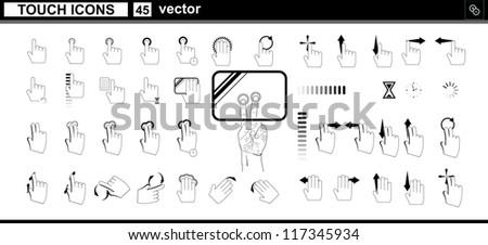Vector collection web icons. Hand touchscreen interface - stock vector