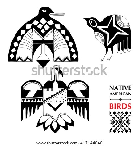 Vector collection with Native American schematic birds isolated on white. Ethnic ornament elements. Set of ancient American decor. Tribal elements in contour style for native design.  - stock vector