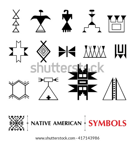 Vector Collection Native American Symbols Isolated Stock Vector