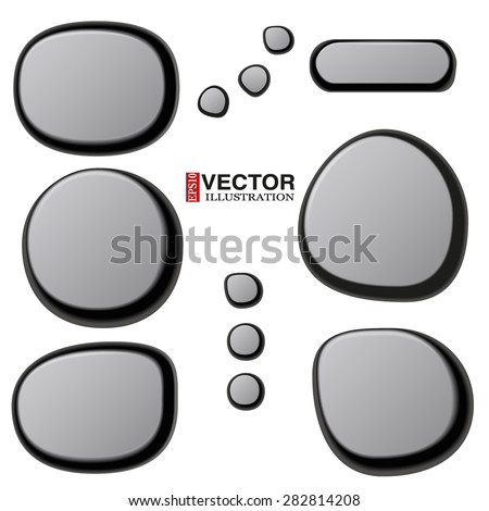 Vector Collections of Different Spa Stones. Zen pebbles. Vector Illustration isolated on white background. - stock vector