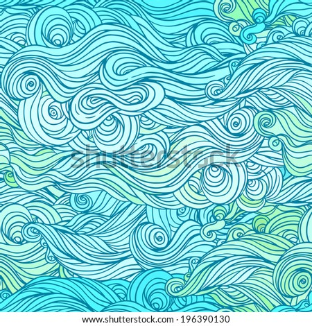 Vector color abstract hand-drawn hair pattern with waves and clouds