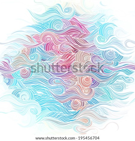 Vector color abstract hand-drawn pattern with waves and clouds  - stock vector