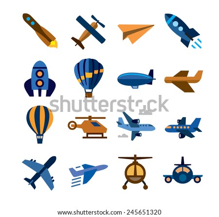 vector color airplane icons on white background - stock vector