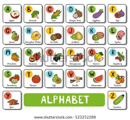 vector color alphabet with fruit and vegetables on white background square card with letters a z