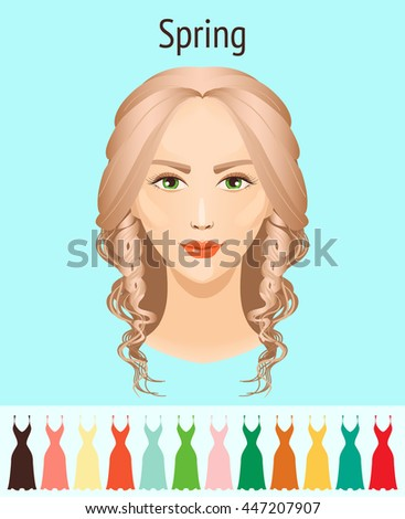 Vector color analysis type of appearance. The girl's face. Suitable palette. Season. Spring.