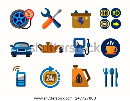 vector color auto icons on white background - stock vector