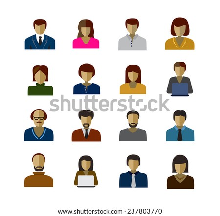vector color avatar icons on white background - stock vector