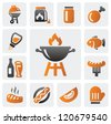 vector color barbecue icons set on gray - stock vector