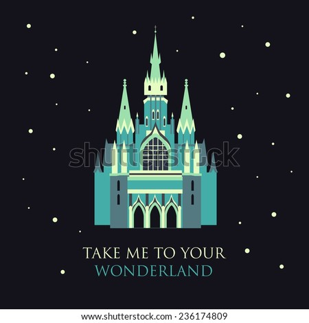 Vector Color Blue Gothic Castle In Flat Style Take Me To Your Wonderland