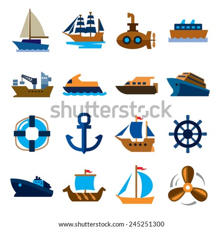 vector color boat and ship icons set on white - stock vector