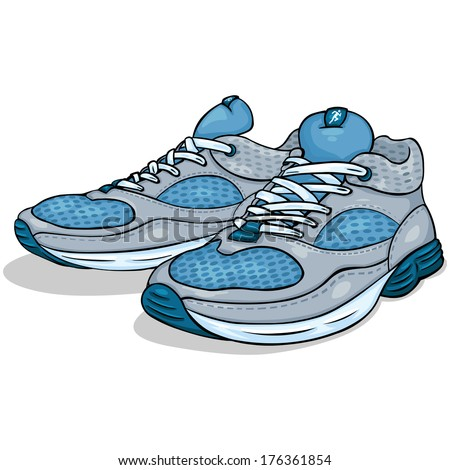 vector color cartoon illustration - running shoes - stock vector