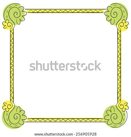 Vector color children's frame on white background - stock vector