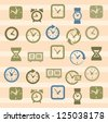 vector color clocks icons in the beige squares - stock vector