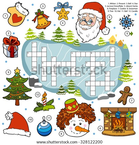 Vector color crossword, education game for children about Christmas - stock vector