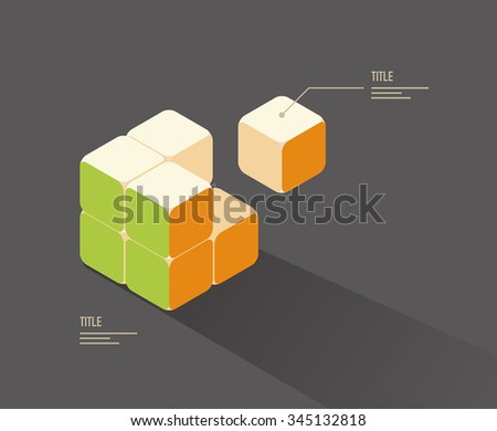 vector color cube puzzle / business infographic template, diagram  - stock vector