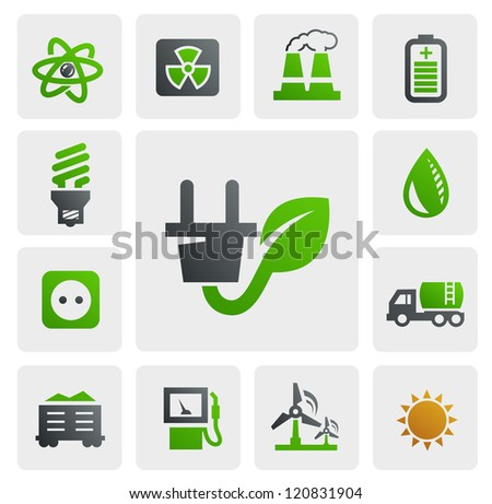 vector color eco energy icons set on gray - stock vector