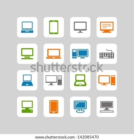 Vector color electronic devices icons set on gray
