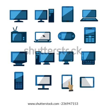 vector color electronic devices icons set on white