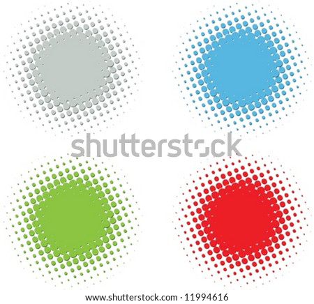 vector color embossed halftone set