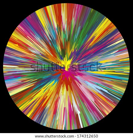 Vector Color Explosion on black background.  - stock vector