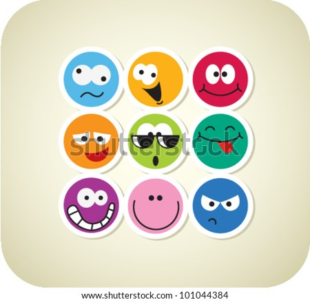 Vector color face icons - stock vector