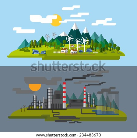 vector color farm and factory flat illustrations - stock vector
