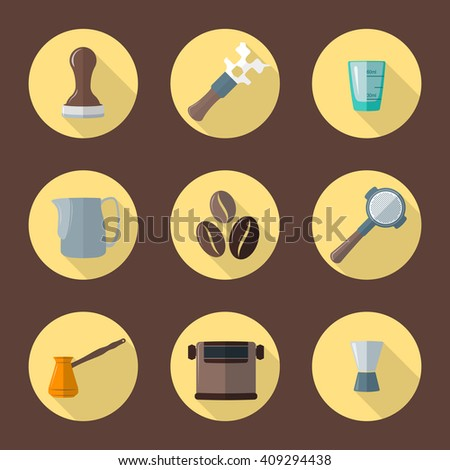 vector color flat design coffee barista equipment tools espresso tamper, coffee wrench, measuring glass pitcher, coffee beans, portafilter, funnel, knockbox, turk round icons isolated background     - stock vector
