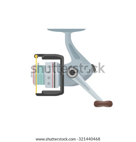 vector color flat design metal gray spinning fishing reel isolated illustration white background  - stock vector